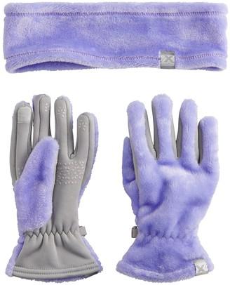 ZeroXposur Girls 4-16 Cozy Pile Headband & Gloves Set