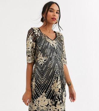 TFNC Maternity midi dress in black and gold