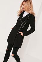 Missguided Tailored Biker Coat Black