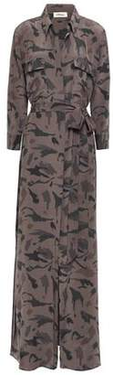 L'Agence Cameron Belted Printed Silk Crepe De Chine Maxi Dress