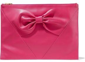 Red(V) Bow-embellished Leather Clutch