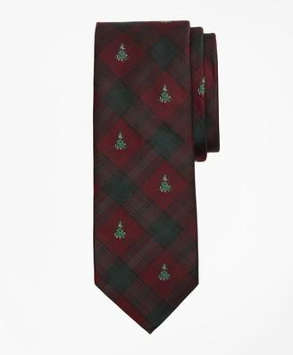 Brooks Brothers Plaid with Christmas Tree Tie