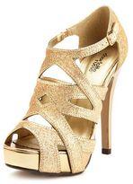 PeepToe Glitter Peep-Toe Cage Heel