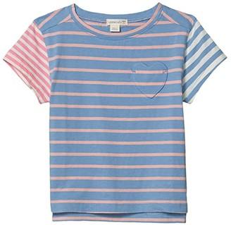crewcuts by J.Crew Striped Heart Pocket Tee (Toddler/Little Kids/Big Kids) (Blue/Pink Multi) Girl's T Shirt