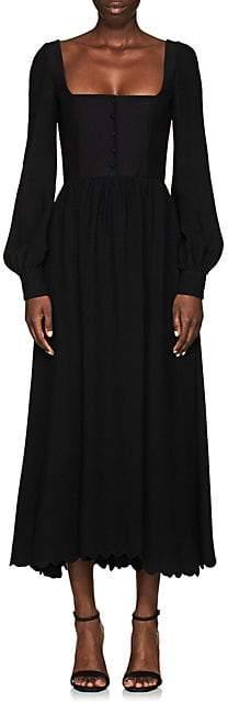 Valentino Women's Scalloped-Hem Square-Neck Dress - Black