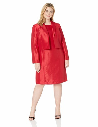 Le Suit LeSuit Women's Plus Size Notch Collar Shiny Fly Away Jacket with Sheath Dress