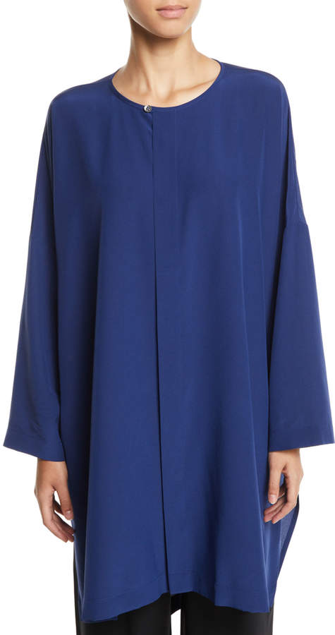 eskandar Long-Sleeve Longer-Back Silk Shirt w/ Side Slits