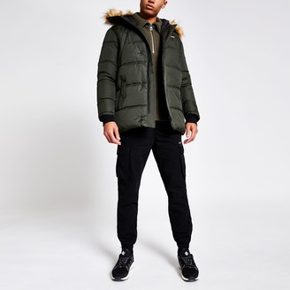 Schott Mens River Island Khaki faux fur hood padded jacket