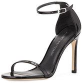 Stuart Weitzman Nudistsong Patent Ankle-Strap Sandal, Black