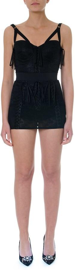 Dolce & Gabbana Black Textile Bustier Embroidered Mini Dress