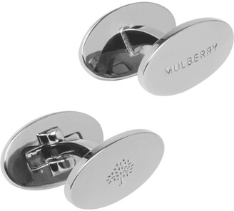 Mulberry Oval Reversible Cufflinks Silver Stamped Brass