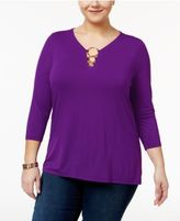 INC International Concepts Plus Size Embellished Top, Only at Macy's