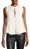 Isabel Marant Sleeveless Embroidered Linen Keyhole Top