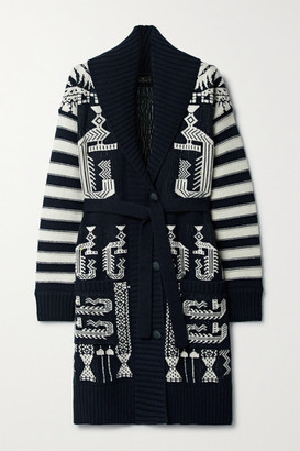 Etro Wool And Cotton-blend Jacquard Cardigan - Midnight blue
