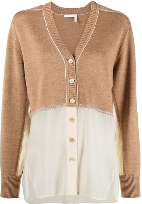 Chloé Two-Tone Panelled Cardigan