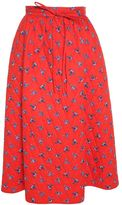 Kenzo May Flowers-print Quilted-cotton Midi Skirt