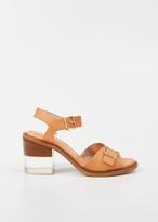 Robert Clergerie cognac verav heeled sandal