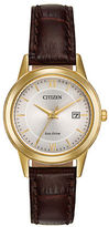 Citizen Ladies Straps Eco-Drive Goldtone Stainless Steel Leather Strap Watch