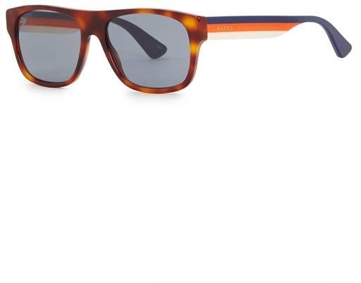 Gucci Tortoiseshell Rectangle-frame Sunglasses