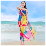 GERINLY Chiffon Sarong Wrap: Flaming Flowers Print Beach Shwal Scarf