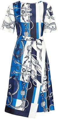 St. John Mariner Scarf-Print Belted Silk Twill Midi Dress
