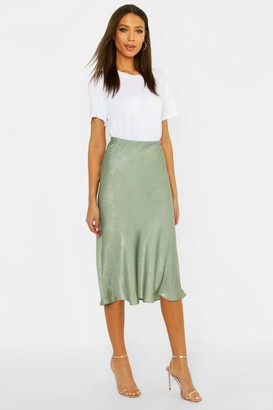boohoo Tall Bias Cut Satin Midi Skirt