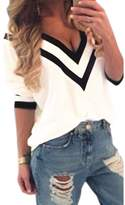 Fashion Story Women's Casual V-neck Collar Loose Chiffon Plus Size T-shirt Shirt Blouse Tops