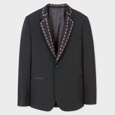 Paul Smith Men's Tailored-Fit Black Stretch-Wool Evening Blazer With 'Strawberry Skull' Embroidery