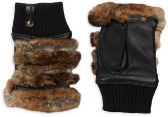 Furlux Rabbit Fur & Leather Fingerless Gloves