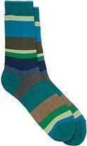 Barneys New York Men's Variegated-Stripe Cotton-Blend Mid-Calf Socks-GREEN