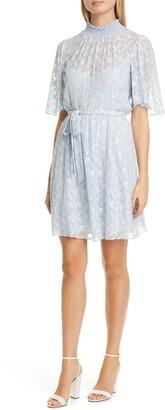 Rebecca Taylor Vine Embroidery Cotton & Silk Cocktail Dress