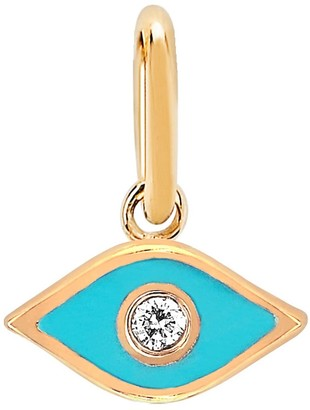 Ef Collection Diamond & Turquoise Evil Eye Pendant