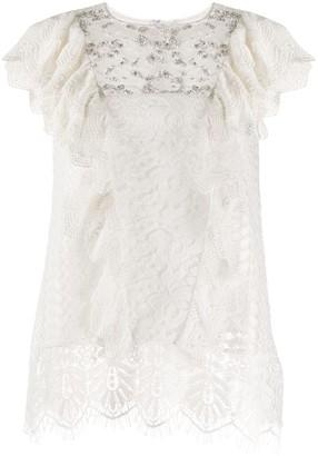 Essentiel Antwerp Vala Playa embellished lace blouse