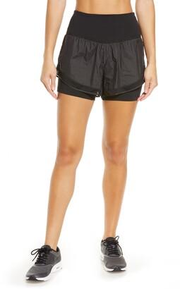 Zella Fresh Air High Waist Double Layer Shorts