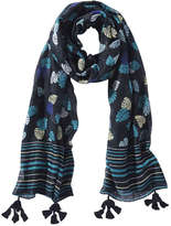 Joe Fresh Women's Print Tassel Scarf, JF Midnight Blue (Size O/S)