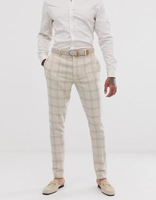 ASOS DESIGN wedding super skinny suit trousers in cream wool blend houndstooth