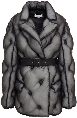 Maison Margiela Belted Quilted Silk-organza Jacket