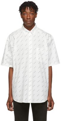 Balenciaga White and Black Allover Logo Short Sleeve Shirt