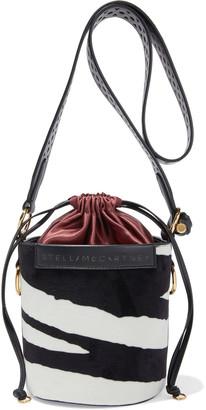 Stella McCartney Faux Leather-trimmed Zebra-print Velvet Bucket Bag