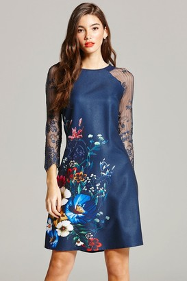 Little Mistress Navy Floral Print and Lace Sleeve Dress