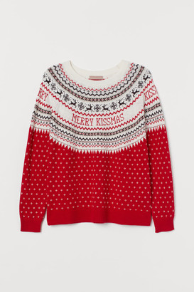 H&M H&M+ Jacquard-knit Sweater - Red