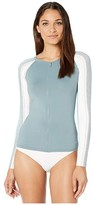 Roxy Fashion Long Sleeve Zip Rashguard (Bright White Retro Vertical) Women's Swimwear