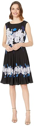 Adrianna Papell Shadow Rose Pleated Dress (Blue Multi) Women's Dress