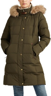 Lauren Ralph Lauren Faux Fur Trim Down Puffer Coat