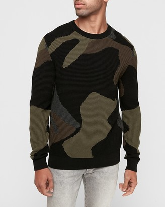 Express Textured Camo Cotton Crew Neck Sweater