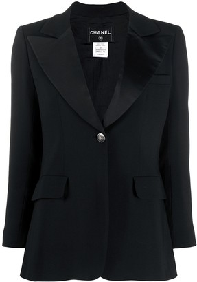 Chanel Pre Owned Peaked Lapel Smoking Jacket