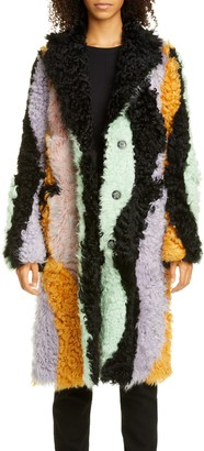 Sandy Liang Wavy Midnight Patchwork Genuine Shearling Coat