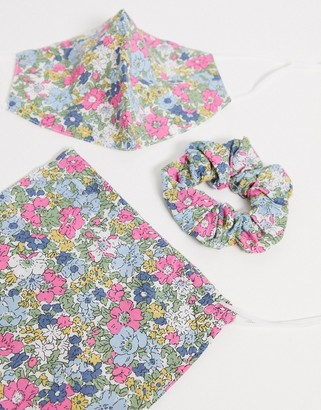 ASOS DESIGN pink floral face covering with pouch & scrunchie