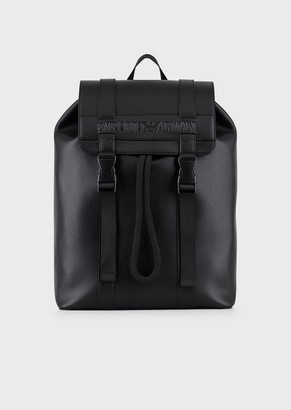 Emporio Armani Backpack With Straps In Recycled Leather