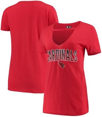 New Era Women's Cardinal Arizona Cardinals Gradient Glitter Choker V-Neck T-Shirt